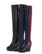 Suni deri Dolgu Topuk Diz Boots fazla ayakkabı (088056549)