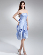 A-Line/Princess Strapless Knee-Length Taffeta Bridesmaid Dress With Ruffle Bow(s) (022015742)