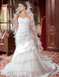 Trumpet/Mermaid Sweetheart Chapel Train Taffeta Tulle Wedding Dress With Beading Appliques Lace Flower(s) Sequins Cascading Ruffles (002000610)