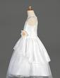 A-Line/Princess Tea-length Flower Girl Dress - Taffeta/Organza Sleeveless Scoop Neck With Lace/Flower(s) (010014644)