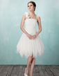 A-Line/Princess One-Shoulder Knee-Length Tulle Homecoming Dress With Ruffle Flower(s) (022009033)