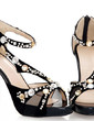 Suede Leatherette Spool Heel Sandals Platform With Rhinestone Zipper Hollow-out shoes (087026605)