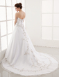 A-Line/Princess Sweetheart Chapel Train Satin Organza Wedding Dress With Embroidered Beading (002000387)