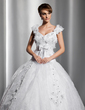 Ball-Gown V-neck Court Train Satin Organza Wedding Dress With Lace Beading Flower(s) Bow(s) (002014812)