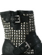 Real Leather Low Heel Closed Toe Ankle Boots With Rivet Buckle shoes (088029142)