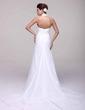 A-Line/Princess Halter Chapel Train Chiffon Wedding Dress With Ruffle Beading (002016107)