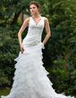 A-Line/Princess V-neck Chapel Train Organza Wedding Dress With Beading Appliques Lace Cascading Ruffles (002000593)