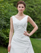 A-Line/Princess V-neck Chapel Train Taffeta Wedding Dress With Ruffle Beading Appliques Lace (002001648)