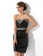 Sheath/Column Sweetheart Short/Mini Sequined Cocktail Dress With Beading (016021255)