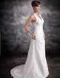 A-Line/Princess Halter Court Train Taffeta Wedding Dress With Ruffle Lace Beading (002016883)
