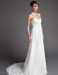 Empire Halter Court Train Chiffon Wedding Dress With Ruffle Beading (002001313)