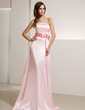 A-Line/Princess Strapless Sweep Train Charmeuse Bridesmaid Dress With Sash Beading Bow(s) (007020732)