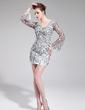 Sheath/Column V-neck Short/Mini Organza Prom Dress With Beading Sequins (018019180)
