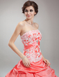 Ball-Gown Strapless Chapel Train Taffeta Wedding Dress With Ruffle Lace Crystal Brooch (002000498)
