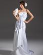 Corte A/Princesa Escote ondulado Cola corte Satén Vestido de novia con Volantes (002011985)
