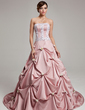 Ball-Gown Strapless Court Train Satin Quinceanera Dress With Ruffle Lace Flower(s) (021017541)