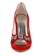 Women's Satin Cone Heel Peep Toe Platform Sandals With Rhinestone (047020121)