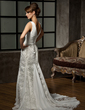 Trumpet/Mermaid V-neck Court Train Chiffon Lace Wedding Dress With Ruffle (002000583)