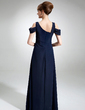 A-Line/Princess V-neck Floor-Length Chiffon Mother of the Bride Dress With Ruffle Beading (008005653)