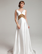 A-Line/Princess V-neck Sweep Train Charmeuse Mother of the Bride Dress With Sash Beading (008003201)