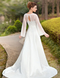 A-Line/Princess Square Neckline Chapel Train Chiffon Satin Wedding Dress With Embroidered (002011989)