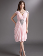 Sheath/Column V-neck Knee-Length Chiffon Cocktail Dress With Ruffle Beading (016016275)