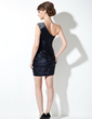 Sheath/Column One-Shoulder Short/Mini Charmeuse Cocktail Dress With Ruffle Beading (016008820)