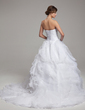 Ball-Gown Scalloped Neck Chapel Train Organza Wedding Dress With Beading Cascading Ruffles Pleated (002017554)