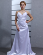 Empire V-neck Watteau Train Charmeuse Wedding Dress With Ruffle Lace Beading (002001177)