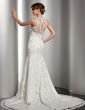 Trumpet/Mermaid V-neck Court Train Lace Wedding Dress With Beading (002014512)