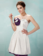 A-Line/Princess Sweetheart Short/Mini Charmeuse Homecoming Dress With Flower(s) (022020857)