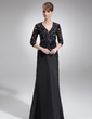 A-Line/Princess V-neck Floor-Length Taffeta Lace Mother of the Bride Dress With Beading Flower(s) Sequins (008006045)