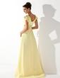 Empire V-neck Sweep Train Chiffon Prom Dress With Ruffle Beading (018021122)