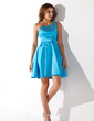 A-Line/Princess One-Shoulder Short/Mini Charmeuse Homecoming Dress With Beading (022010005)