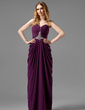 Sheath/Column Sweetheart Floor-Length Chiffon Prom Dress With Ruffle Beading (018020737)