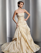 A-Line/Princess Strapless Chapel Train Taffeta Wedding Dress With Ruffle Lace Beading (002014816)