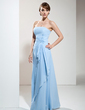 A-Line/Princess Strapless Floor-Length Chiffon Bridesmaid Dress With Beading Appliques Lace Cascading Ruffles (007001746)