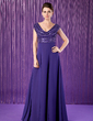 A-Line/Princess Cowl Neck Floor-Length Chiffon Sequined Mother of the Bride Dress With Ruffle (008018936)