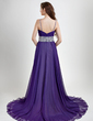 A-Line/Princess Sweetheart Court Train Chiffon Evening Dress With Beading (017015769)
