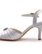 Women's Satin Stiletto Heel Pumps Sandals With Buckle Rhinestone (047039712)