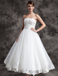A-Line/Princess Strapless Ankle-Length Satin Organza Wedding Dress With Lace Beading (002015003)