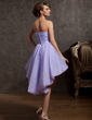 A-Line/Princess Sweetheart Asymmetrical Organza Homecoming Dress With Ruffle Beading (022014870)