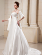A-Line/Princess Strapless Court Train Satin Wedding Dress With Ruffle Beading (002000560)