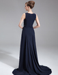 A-Line/Princess Scoop Neck Sweep Train Chiffon Mother of the Bride Dress With Ruffle Beading (008005708)