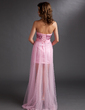 Sheath/Column Sweetheart Asymmetrical Charmeuse Tulle Prom Dress With Beading (018016737)
