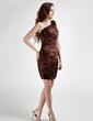 Sheath/Column One-Shoulder Short/Mini Charmeuse Cocktail Dress With Ruffle Flower(s) (016015766)