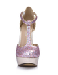 Leatherette Sparkling Glitter Stiletto Heel Pumps Platform Closed Toe With Buckle shoes (085026448)