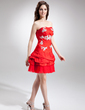 A-Line/Princess Sweetheart Short/Mini Taffeta Cocktail Dress With Beading Appliques Lace Sequins (016016282)