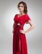 Çan/Prenses V Yaka Uzun Etekli Chiffon Charmeuse Gelin Annesi Elbisesi (008006323)