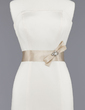 Simple Satin Sash With Beading/Bow (015012857)